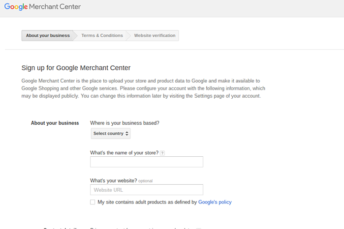 Google Merchant Center Sign-up