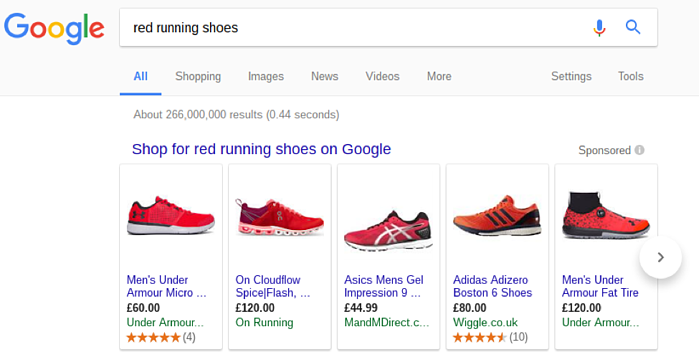 Google Shopping Red Shoes