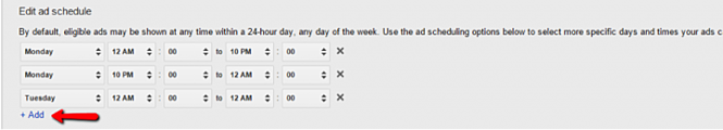 Edit Google Shopping Ad Schedule