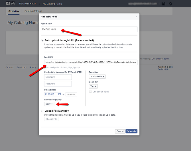 Facebook Data Feed Scheduling