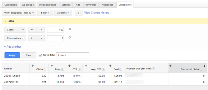 Google AdWords Dimension Tab Loser Filter Results