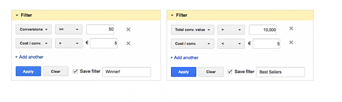 Google AdWords Dimensions Filters for Winners