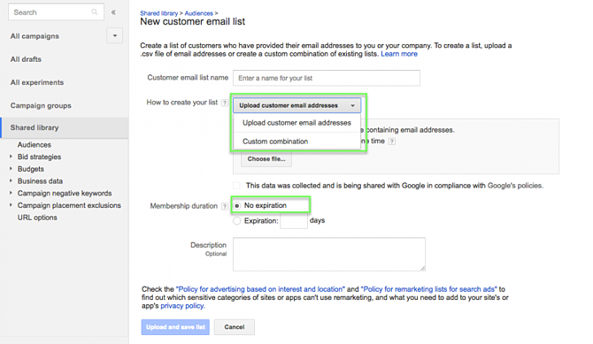Google Customer Match from Google Shopping Upload List
