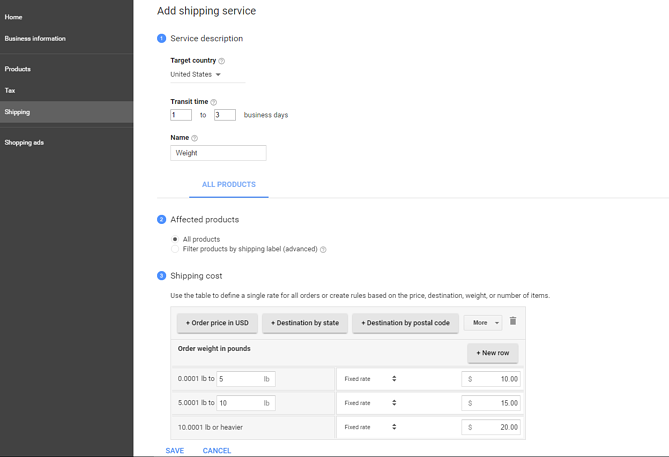 Google Merchant Center Shipping in Magento Shops