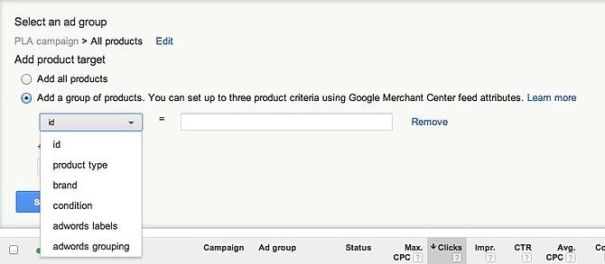 Google Product Listing Ads Target Attributes
