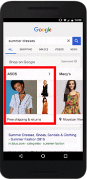Google Shopping Showcasing Shopping Ads