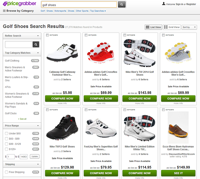 PriceGrabber Comparison Shopping Engine Shoes