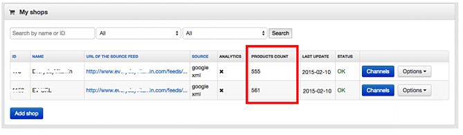 Product Count in My Shops in DataFeedWatch