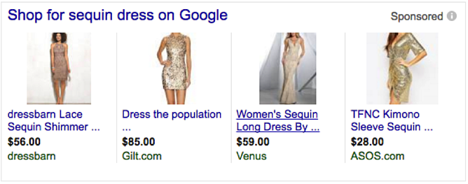 Product Title in Google Shopping for Sequin Dress