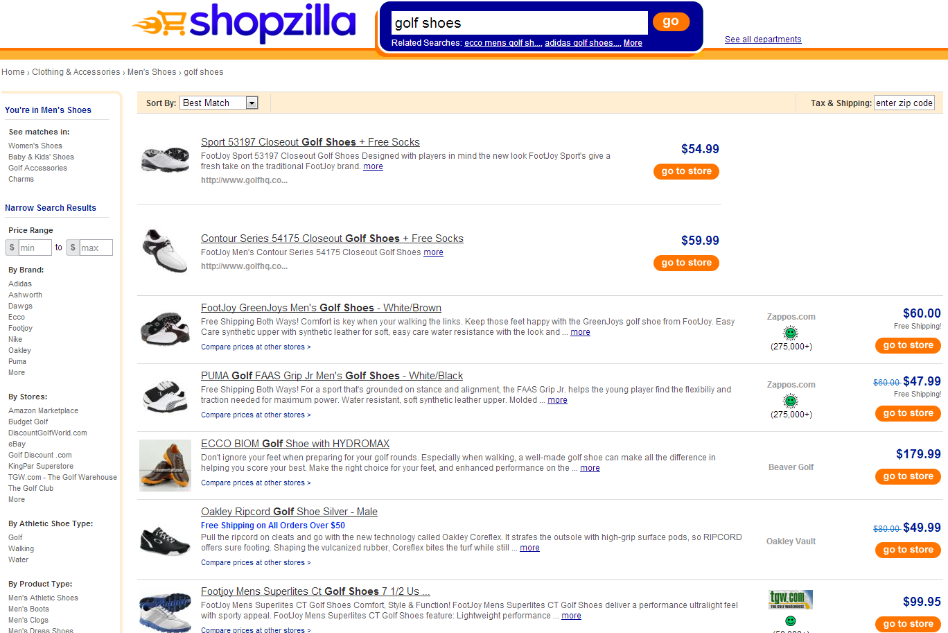 Shopzilla Comparison Shopping Engine Shoes
